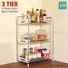 Wall Organiser Kitchen Storage Rack Spice Bathroom 3 Tier Organiser Stainless Steel S