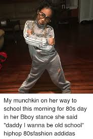 my munchkin on her way to school this morning for 80s day in her
