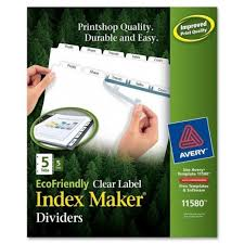 avery white 5 tab index maker ecofriendly clear label dividers 5