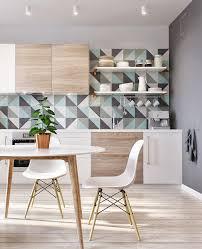 colorful geometric kitchen backsplash scandinavian style kitchen