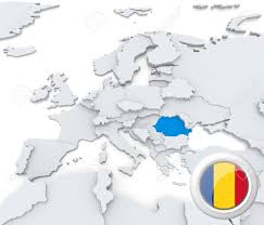 Europe On Map by Highlighted Romania On Map Of Europe With National Flag Stock