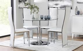 silverado chrome 47 round dining table glass and chrome dining table incredible orbit round with 4 celeste