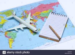 Map Note Close Up Plastic Plane Toy Note And Pencil On World Map In Concept
