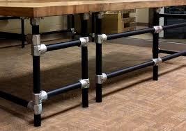 massive u shaped butcher block work bench with matching shelf