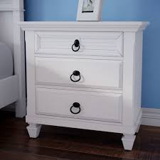 white stained bed side table with three drawer and rounded hurst 3 drawer nightstand reviews joss main