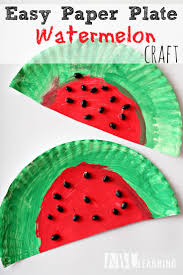 easy and simple paper plate watermelon kids craft project