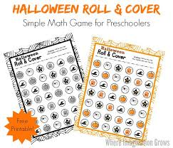 preschool roll u0026 cover halloween math game where imagination grows