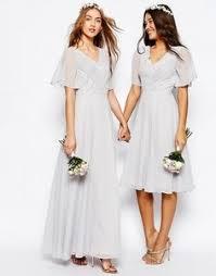 bridesmaid dresses asos asos wedding embellished flutter sleeve midi dress at asos