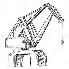 dockside crane drawing stock vector art 474200036 istock