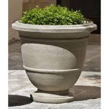 Stone Urn Planter by Campania International Williamsburg Low Fretwork Cast Stone Urn