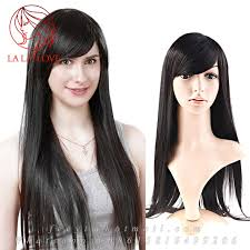 pic of black women side swept bangs and bun hairstyle 28 70cm black long wig straight brazilian human real hair wigs