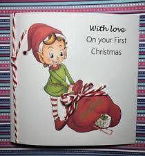 personalised handmade baby first christmas card ebay