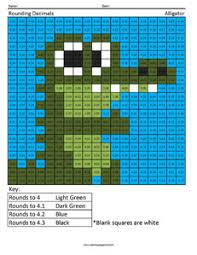 alligator rounding decimals 5th grade math concepts coloring