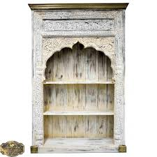 Brass Bookcase White Mehrab Carved Indian Timber U0026 Brass Bookshelf