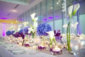 modern centerpieces modern purple blue white wedding at contemporary chicago venue