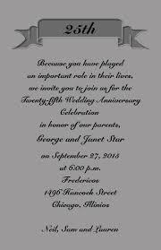 silver anniversary ideas silver jubilee wedding anniversary invitation cards invitation