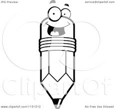 cartoon clipart of a black and white happy smiling pencil face