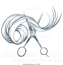 vector illustration of gradient scissors cutting hair by