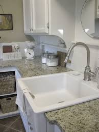 decorating square white apron sink plus silver faucet on wheat