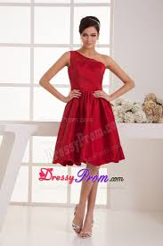 turmec red one sleeve short prom dress