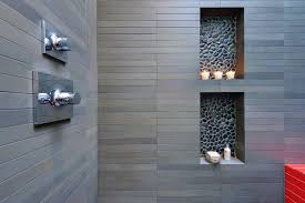contrasting tile niches and a touch of color modern san