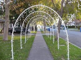 Wedding Arches Made From Trees Lighted Arches Made Out Of 1 2 Inch Pvc Pipe Held In Place By 3