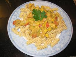 the flaming potato pasta with creamy coconut chicken curry sauce