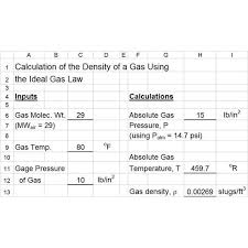 use excel formulas for orifice venturi meter and ideal gas law