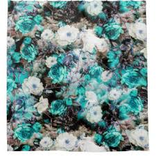 turquoise floral shower curtains zazzle