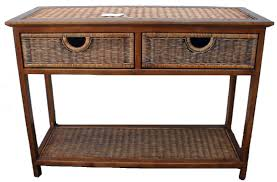 Rustic Outdoor Furniture by Outdoor Wicker Console Table With Storage And Double Drawer Plus