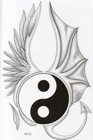 life and death yin yang good and evil angel wings demon wings