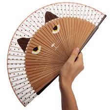 japanese fans for sale hot sale 21x38cm vintage japanese bamboo silk fan cat