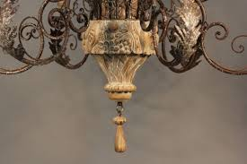 Wood Iron Chandelier Large Italian Carved Wood And Wrought Iron Chandelier For