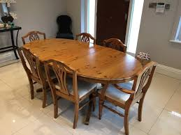ducal antique pine extending dining room table and chairs in