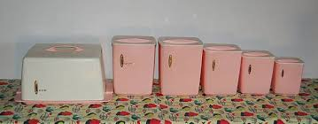 pink canisters kitchen set 6 vintage 50s pink canister and cake carrier retro kitchen set