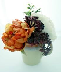 Peony Arrangement Silk Faux Succulent Arrangement Small Plum Succulent Auburn And