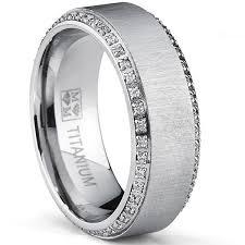 comfort fit titanium mens wedding bands oliveti brushed titanium men s cut cubic zirconia comfort