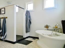 doorless shower designs bathroom farmhouse with clawfoot bathtub
