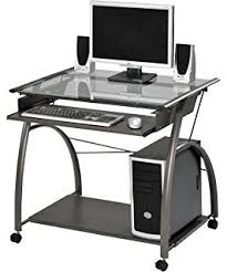 Computer Workstation Desk Amazon Com Techni Mobili Frosted Glass Top Compact Computer