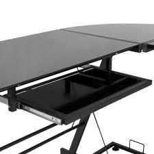 Black Glass L Shaped Computer Desk Office Glass Office Desk Ideas Using Black Glass For Corner