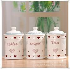 kitchen tea coffee sugar canisters ceramic canister jars three set kitchen