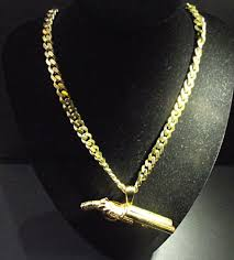 gold curb necklace images 30 inch flat curb chain large shot gun pendant cast in 9ct gold jpg