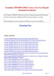 yamaha tdm900 2006 factory service repair manual pdf by guang hui