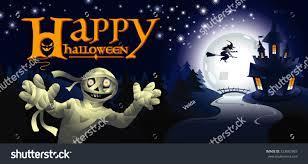 halloween mummy background halloween greeting card mummy night landscape stock vector