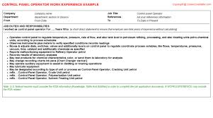 chemical operator resume control panel operator cv work experience