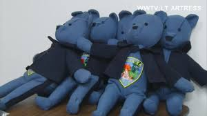 a michigan woman is making teddy bears out of retired police