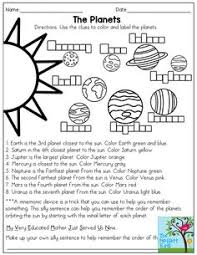 order the planets u2013 free planet worksheet for primary grades