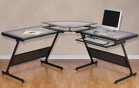 L Shaped Black Glass Desk Frosted Glass L Shaped Desk Rs Floral Design Use An Office