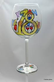 wine glass birthday happy colourful 18th birthday painted wine glass