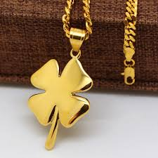 gold clover pendant necklace images Shamrock necklace pure yellow gold color four leaf clover irish jpg